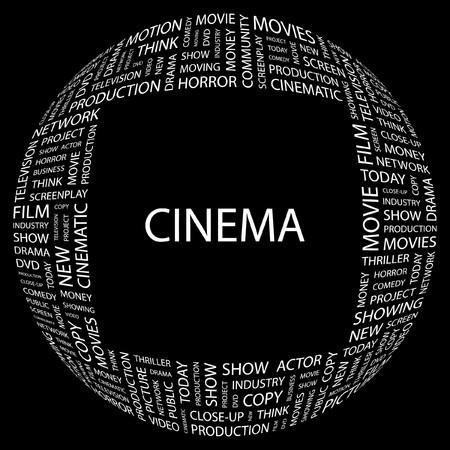 cinematograph: CINE. Palabra collage sobre fondo negro. ilustraci�n.