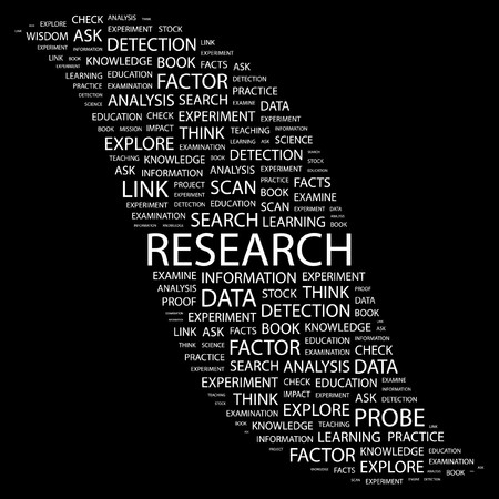 RESEARCH. Word collage on black background. illustration.    Vector