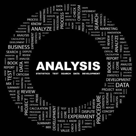 article marketing: ANALYSIS. Word collage on black background. illustration.