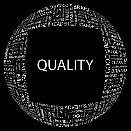 quality management: QUALITY. Word collage on black background illustration.