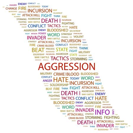 assailant: AGGRESSION. Word collage on white background.