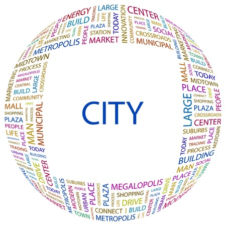 CITY. Word collage on white background. illustration.    Vector