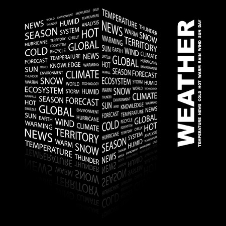 WEATHER. Word collage on black background.  illustration.    Stock Vector - 7357215