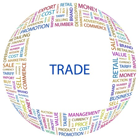 world trade center: TRADE. Word collage on white background. illustration.