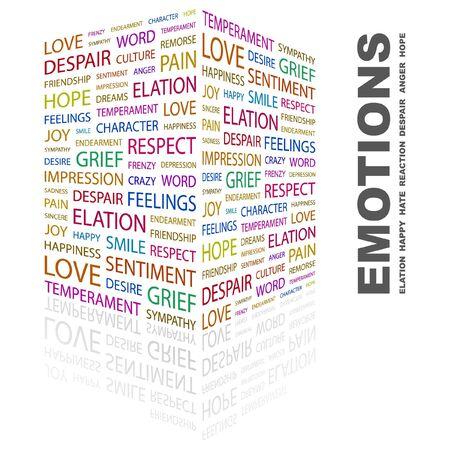 temperamento: EMOCIONES. Collage de Word en ilustraci�n de fondo blanco.