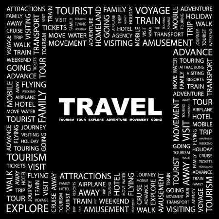 TRAVEL. Word collage on black background.  illustration.    Vector