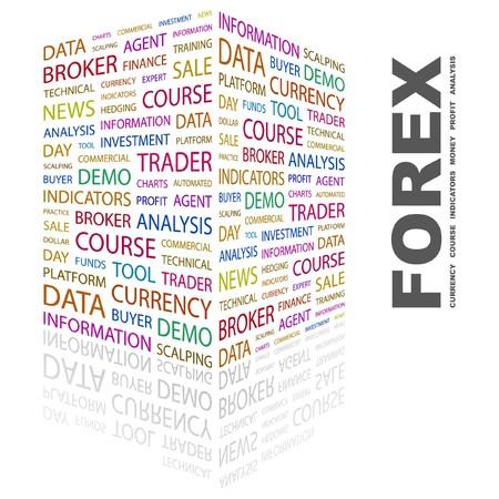 外国為替。白い背景の上の単語のコラージュ。イラスト。  イラスト・ベクター素材