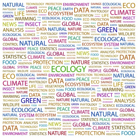 ECOLOGY. Word collage on white background illustration.    Vector