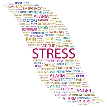 STRESS. Word collage on white background. illustration.    Vector