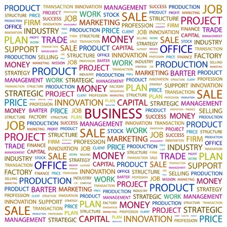 clouds clipart: BUSINESS. Word collage on white background.  illustration.