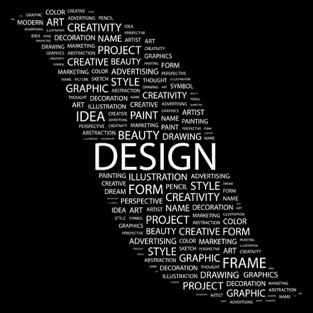 package printing: DESIGN. Word collage on black background.  illustration.    Illustration