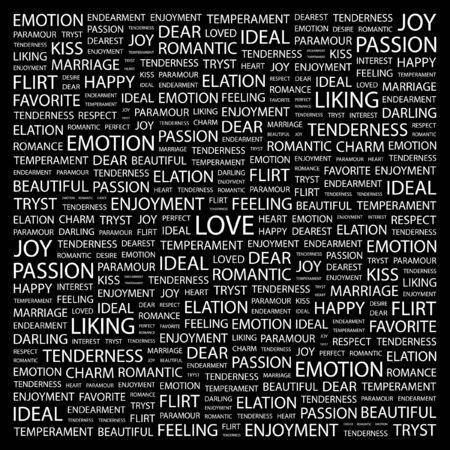 欲望: 大好きです。黒の背景上のコラージュを単語します。イラスト。  イラスト・ベクター素材