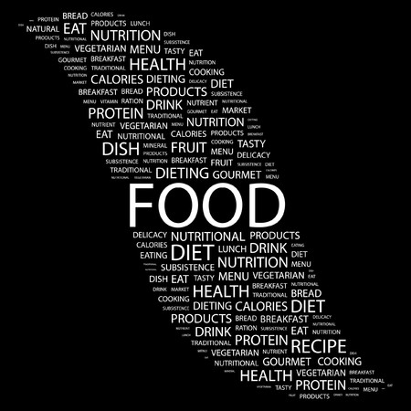 FOOD. Word collage on black background. illustration.    Stock Vector - 7355611