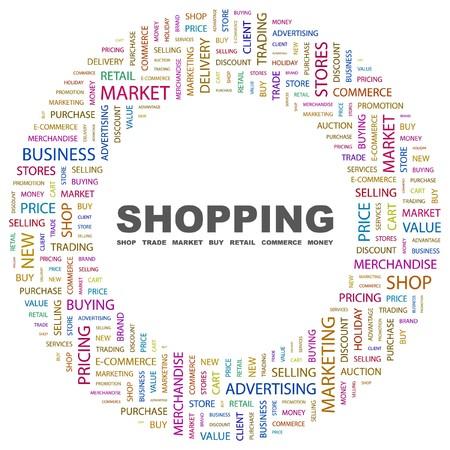 retail shop: IR DE COMPRAS. Palabra collage sobre fondo blanco. ilustraci�n.