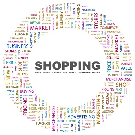 simple store: SHOPPING. Word collage on white background. illustration.