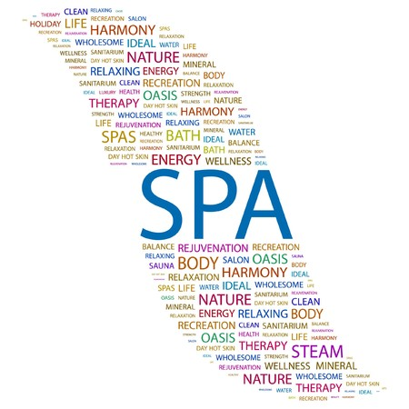 spa resort: SPA. Word collage on white background.  illustration.    Illustration