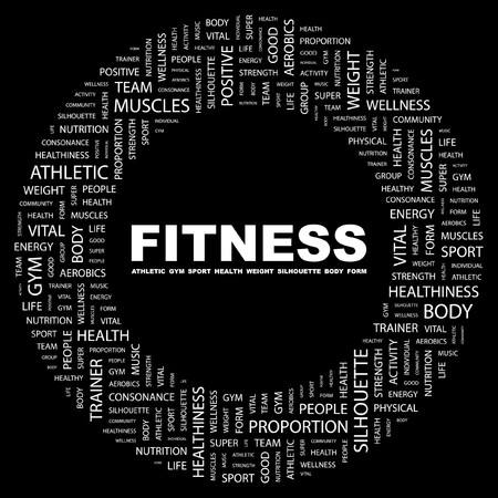 healthiness: FITNESS. Palabra collage sobre fondo negro. ilustraci�n.