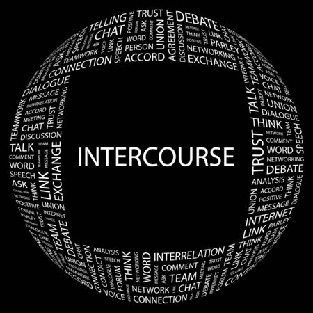INTERCOURSE. Word collage on black background. illustration. Stock Vector - 7356698