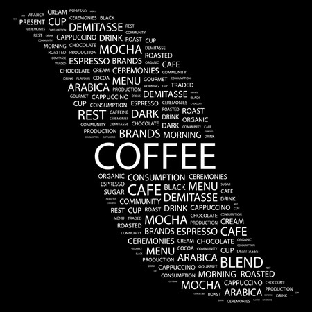 demitasse: COFFEE. Word collage on black background. illustration.