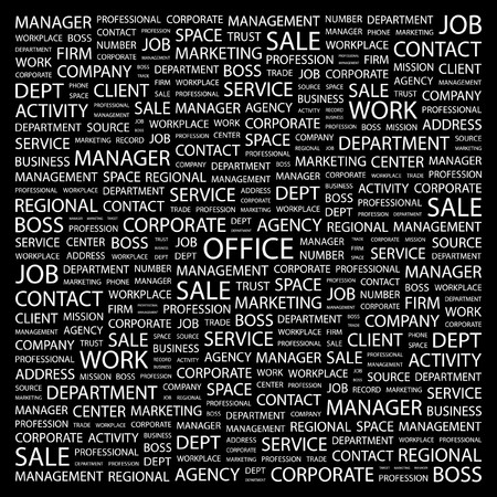 OFFICE. Word collage on black background.   illustration.    Vector
