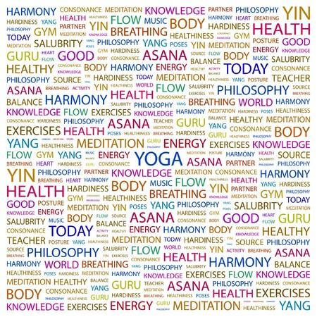 hardiness: YOGA. Word collage on white background. illustration.    Illustration
