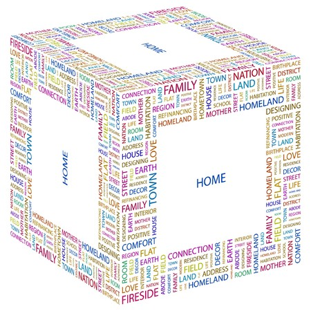 refinancing: HOME. Word collage on white background.  illustration.