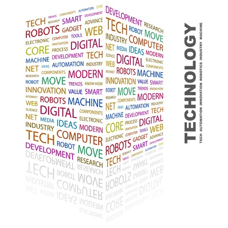 technology collage: TECHNOLOGY. Word collage on white background.  illustration.    Illustration