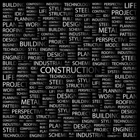 erection: CONSTRUCTION. Word collage on black background.  illustration.