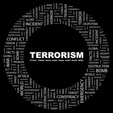 patriot act: TERRORISM. Word collage on black background.  illustration.