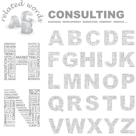 CONSULTING. letter collection. Wordcloud illustration. Stock Vector - 7355718