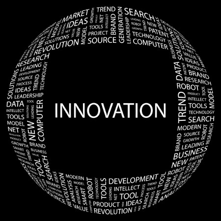 INNOVATION. Word collage on black background.  illustration. Stock Vector - 7356624