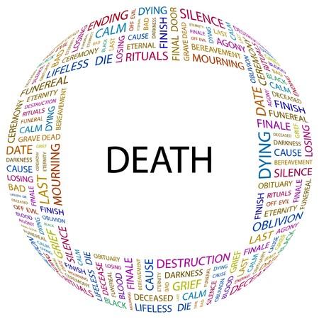 dark cloud: MUERTE. Palabra collage sobre fondo blanco. ilustraci�n.  Vectores