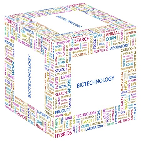 BIOTECHNOLOGY. Word collage on white background illustration.    Vector