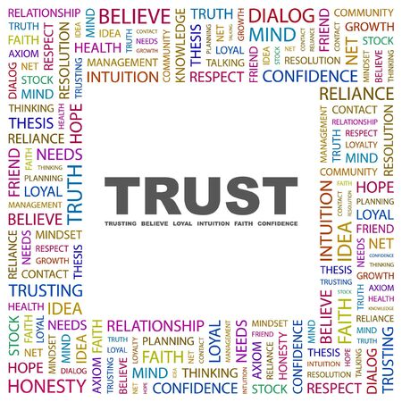 TRUST. Word collage on white background.  illustration. Stock Vector - 7355602