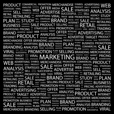 barter: MARKETING. Word collage on black background. illustration.    Illustration