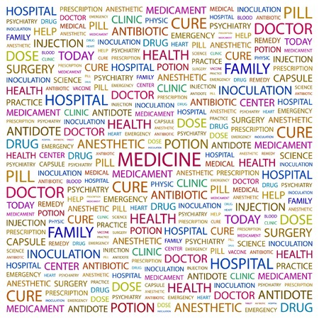 nursing associations: MEDICINE. Word collage on white background illustration.    Illustration