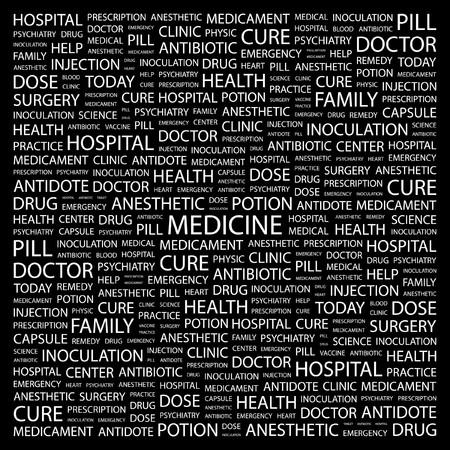 MEDICINE. Word collage on black background.  illustration.