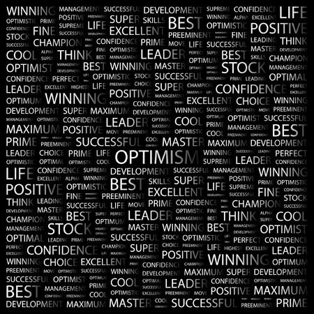 OPTIMISM. Word collage on black background illustration. Stock Vector - 7358533