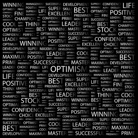 inimitable: OPTIMISM. Word collage on black background illustration.    Illustration