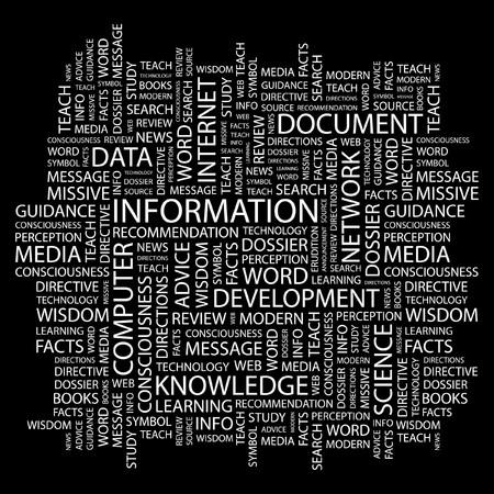 cognizance: INFORMATION. Word collage on black background illustration.