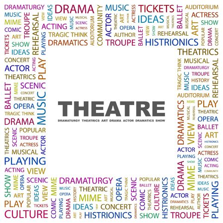 theatrical: THEATRE. Word collage on white background.  illustration.    Illustration