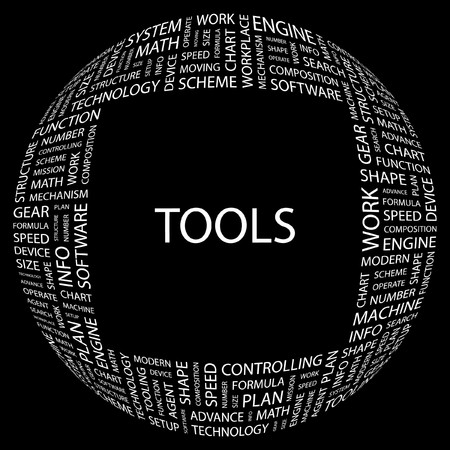 TOOLS. Word collage on black background. illustration. Stock Vector - 7356707