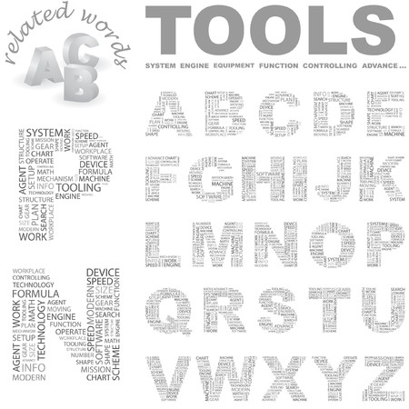 TOOLS. letter collection. Wordcloud illustration.   Stock Vector - 7355792