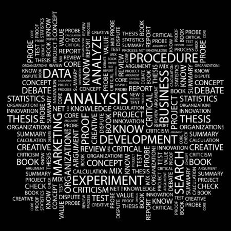 critique: ANALYSIS. Word collage on black background. illustration.