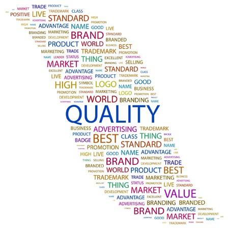 management qualit�: QUALIT�. Mot collage sur fond blanc.  illustration.