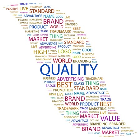QUALITY. Word collage on white background. illustration.