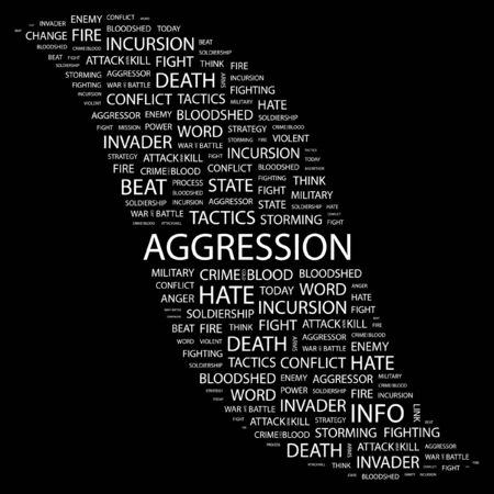 bloodshed: AGGRESSION. Word collage on black background.  illustration.