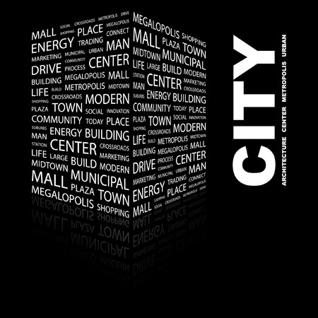 CITY. Word collage on black background.  illustration. Stock Vector - 7357218