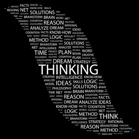 logic: THINKING. Word collage on black background. illustration.    Illustration