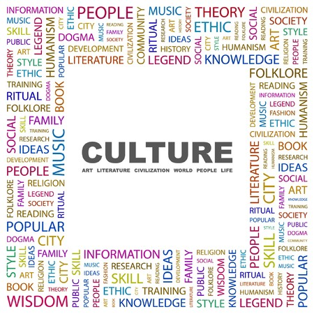 CULTURE. Word collage on white background. illustration.    Vector